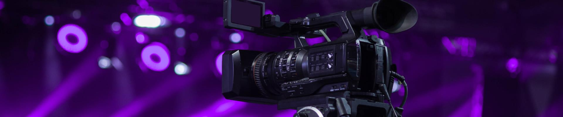 viedo camera recording purple background
