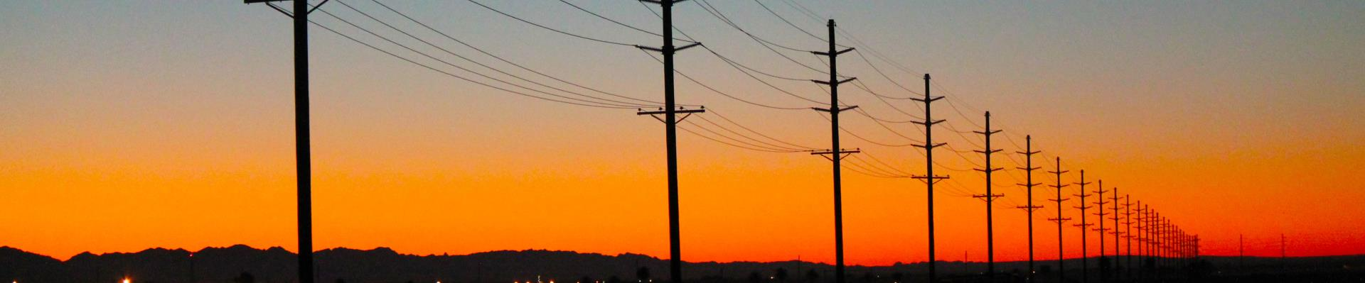 power line during sunrise