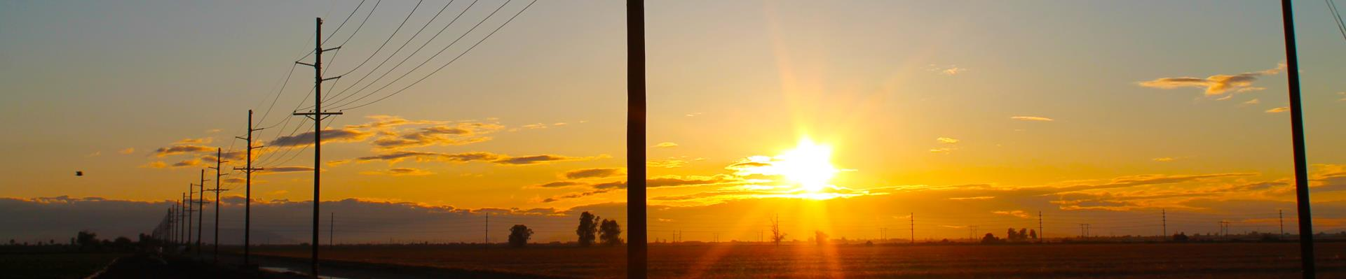 sunrise and powerlines