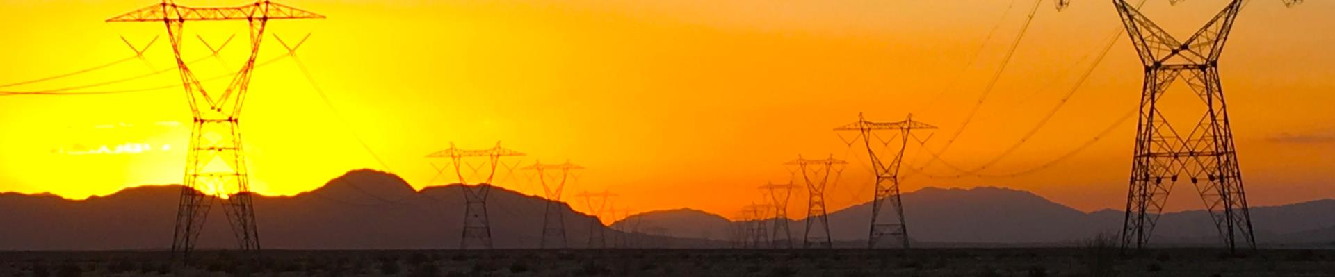 transmission lines in ocotillo during sunset