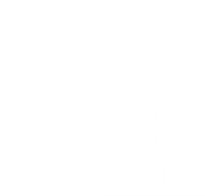 commercial building and sun icon